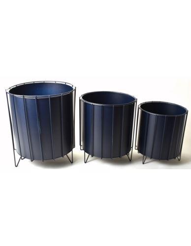 Osłonki metalowe Cylinder 3 szt. Granatowe