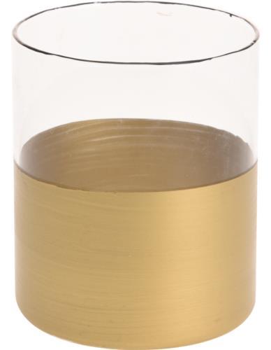 Lampion Szklany Cylinder Złoto 10cm