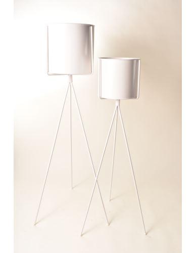 Osłonka metalowa na stojaku biała - 2 wysokości