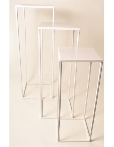 Stojak / Postument metalowy na kwiaty białe - 3 wielkości