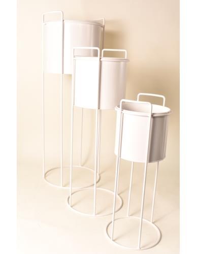 Osłonka metalowa Cylinder na stojaku biała - 3 wielkości