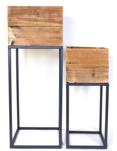 Osłonki skrzynki kwadrat wysokie 2 szt. Drewno