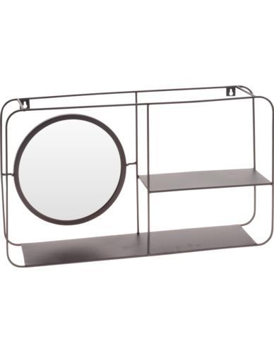 Półka metalowa ścienna z lustrem
