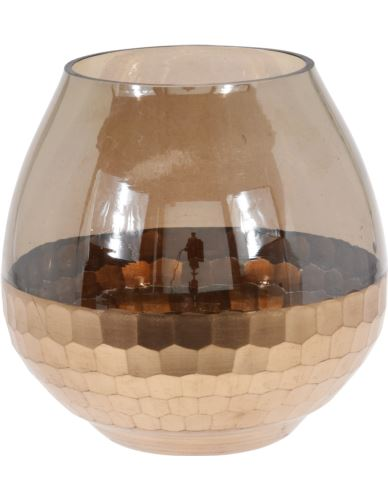 Lampion Szklany dymiony plaster miodu