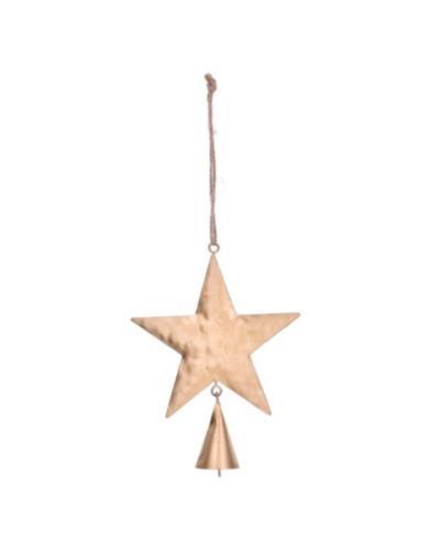 Zawieszka złota gwiazdka z dzwonkiem
