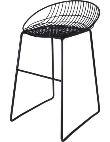 Krzesło Metalowe Czarne niskie oparcie