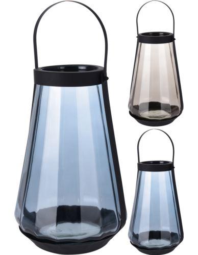 Lampion szklany z metalem wysoki