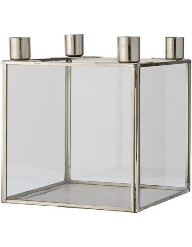 Świecznik szklany z metalem Kubik Srebrny