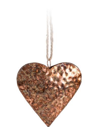 Zawieszka metalowa Serce Miedź H10 cm