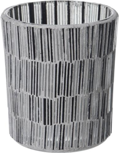 Świecznik szklany Tealight Mozaika Cylinder H10 cm