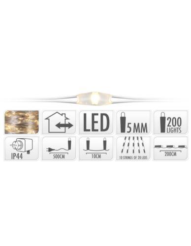 DRUCIK 200 LED SREBRO 10-ŻYŁ