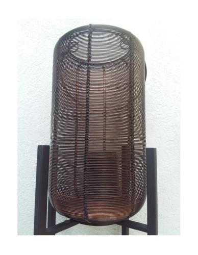 LAMPION DRUT CZARNY MIEDŹ H32CM M