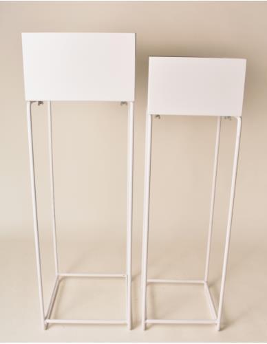 Kwietniki metalowe Wysokie Kwadrat 2 szt. Białe
