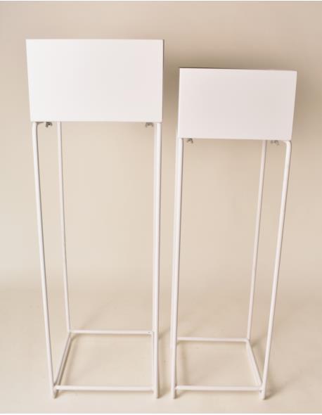 Kwietniki Metalowe Wysokie Kwadrat 2 Szt Białe Hausemaniapl