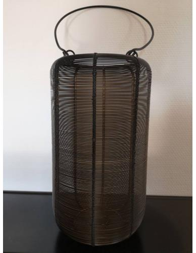 Lampion druciany Czarny Złoto H32 cm M